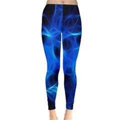 Blue Flame Light Black Leggings  by Alisyart
