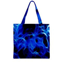 Blue Flame Light Black Grocery Tote Bag by Alisyart