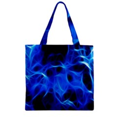 Blue Flame Light Black Zipper Grocery Tote Bag by Alisyart