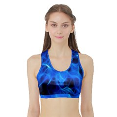 Blue Flame Light Black Sports Bra With Border by Alisyart