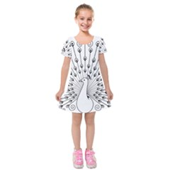 Bird Peacock Fan Animals Kids  Short Sleeve Velvet Dress by Alisyart