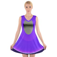 Ceiling Color Magenta Blue Lights Gray Green Purple Oculus Main Moon Light Night Wave V Neck Sleeveless Skater Dress