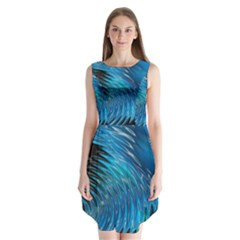 Waves Wave Water Blue Hole Black Sleeveless Chiffon Dress