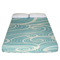 Blue Waves Fitted Sheet (california King Size) by Alisyart