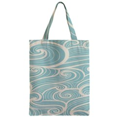 Blue Waves Zipper Classic Tote Bag by Alisyart