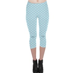 Circle Blue White Capri Leggings  by Alisyart