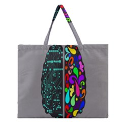Emotional Rational Brain Zipper Large Tote Bag