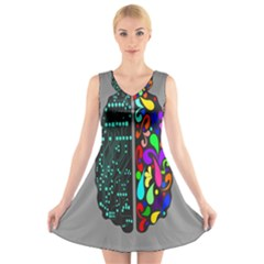 Emotional Rational Brain V Neck Sleeveless Skater Dress by Alisyart