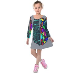 Emotional Rational Brain Kids  Long Sleeve Velvet Dress by Alisyart