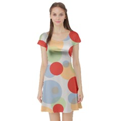 Contrast Analogous Colour Circle Red Green Orange Short Sleeve Skater Dress