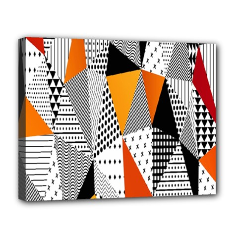 Contrast Hero Triangle Plaid Circle Wave Chevron Orange White Black Line Canvas 14  X 11  by Alisyart