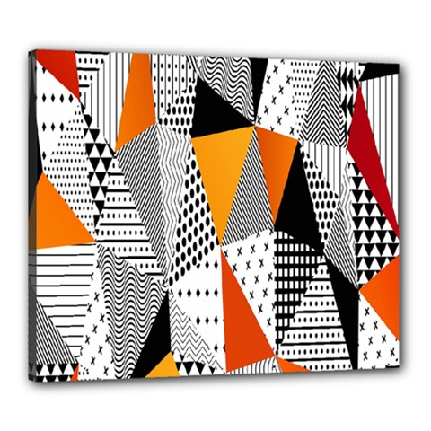 Contrast Hero Triangle Plaid Circle Wave Chevron Orange White Black Line Canvas 24  X 20  by Alisyart