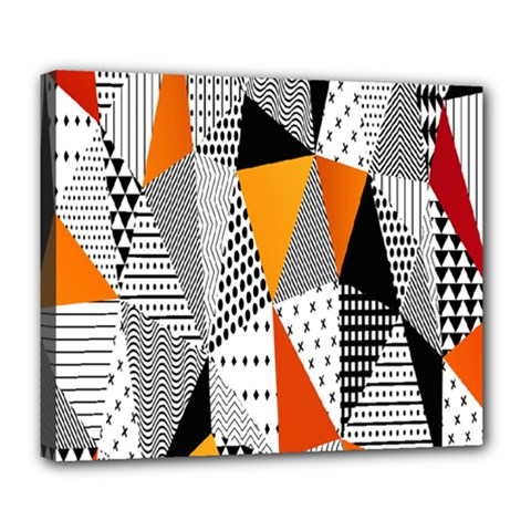 Contrast Hero Triangle Plaid Circle Wave Chevron Orange White Black Line Deluxe Canvas 24  X 20