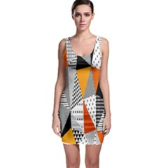 Contrast Hero Triangle Plaid Circle Wave Chevron Orange White Black Line Sleeveless Bodycon Dress by Alisyart