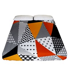 Contrast Hero Triangle Plaid Circle Wave Chevron Orange White Black Line Fitted Sheet (king Size)