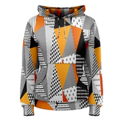Contrast Hero Triangle Plaid Circle Wave Chevron Orange White Black Line Women s Pullover Hoodie