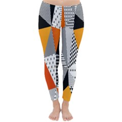 Contrast Hero Triangle Plaid Circle Wave Chevron Orange White Black Line Classic Winter Leggings