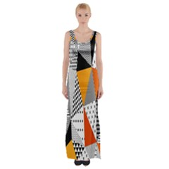 Contrast Hero Triangle Plaid Circle Wave Chevron Orange White Black Line Maxi Thigh Split Dress by Alisyart