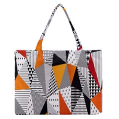 Contrast Hero Triangle Plaid Circle Wave Chevron Orange White Black Line Medium Zipper Tote Bag by Alisyart