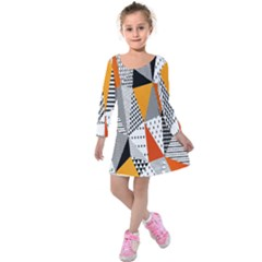 Contrast Hero Triangle Plaid Circle Wave Chevron Orange White Black Line Kids  Long Sleeve Velvet Dress by Alisyart