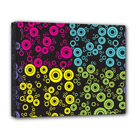 Circle Ring Color Purple Pink Yellow Blue Deluxe Canvas 20  X 16   by Alisyart