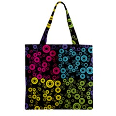 Circle Ring Color Purple Pink Yellow Blue Zipper Grocery Tote Bag