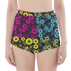 Circle Ring Color Purple Pink Yellow Blue High Waisted Bikini Bottoms by Alisyart