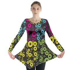 Circle Ring Color Purple Pink Yellow Blue Long Sleeve Tunic