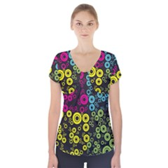 Circle Ring Color Purple Pink Yellow Blue Short Sleeve Front Detail Top by Alisyart