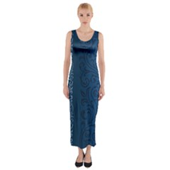 Fabric Blue Batik Fitted Maxi Dress by Alisyart