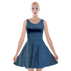 Fabric Blue Batik Velvet Skater Dress