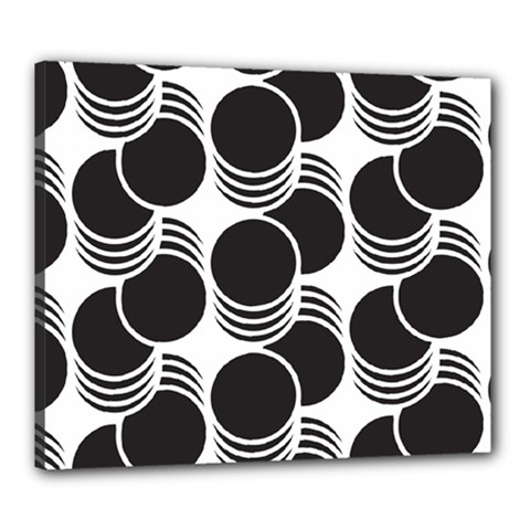 Floral Geometric Circle Black White Hole Canvas 24  X 20  by Alisyart