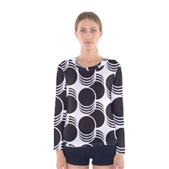 Floral Geometric Circle Black White Hole Women s Long Sleeve Tee by Alisyart
