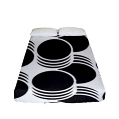 Floral Geometric Circle Black White Hole Fitted Sheet (full/ Double Size) by Alisyart