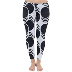 Floral Geometric Circle Black White Hole Classic Winter Leggings