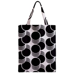 Floral Geometric Circle Black White Hole Zipper Classic Tote Bag by Alisyart