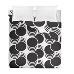 Floral Geometric Circle Black White Hole Duvet Cover Double Side (full/ Double Size) by Alisyart