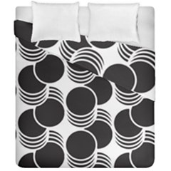 Floral Geometric Circle Black White Hole Duvet Cover Double Side (california King Size)