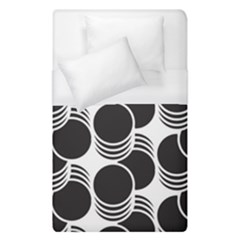 Floral Geometric Circle Black White Hole Duvet Cover (single Size) by Alisyart