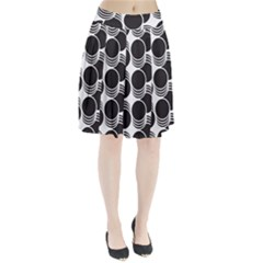 Floral Geometric Circle Black White Hole Pleated Skirt