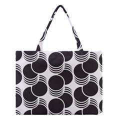 Floral Geometric Circle Black White Hole Medium Tote Bag by Alisyart