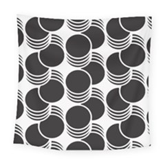 Floral Geometric Circle Black White Hole Square Tapestry (large) by Alisyart