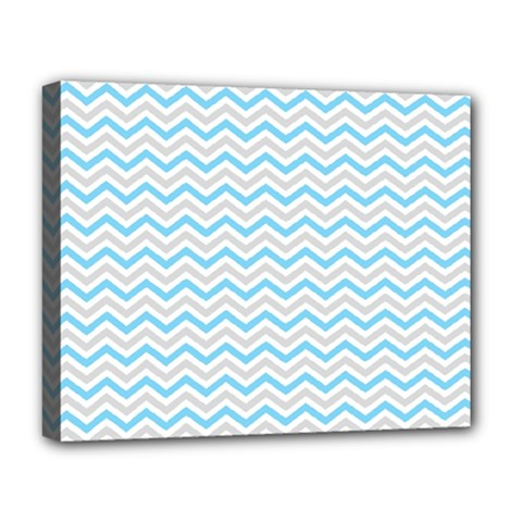 Free Plushie Wave Chevron Blue Grey Gray Deluxe Canvas 20  X 16   by Alisyart