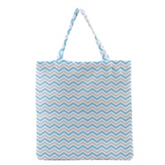 Free Plushie Wave Chevron Blue Grey Gray Grocery Tote Bag by Alisyart