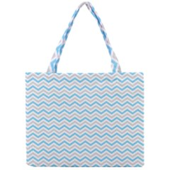 Free Plushie Wave Chevron Blue Grey Gray Mini Tote Bag by Alisyart
