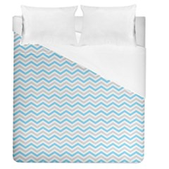 Free Plushie Wave Chevron Blue Grey Gray Duvet Cover (queen Size)