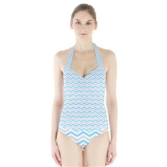 Free Plushie Wave Chevron Blue Grey Gray Halter Swimsuit by Alisyart