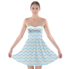 Free Plushie Wave Chevron Blue Grey Gray Strapless Bra Top Dress