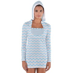 Free Plushie Wave Chevron Blue Grey Gray Women s Long Sleeve Hooded T-shirt by Alisyart