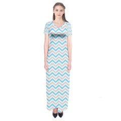 Free Plushie Wave Chevron Blue Grey Gray Short Sleeve Maxi Dress by Alisyart